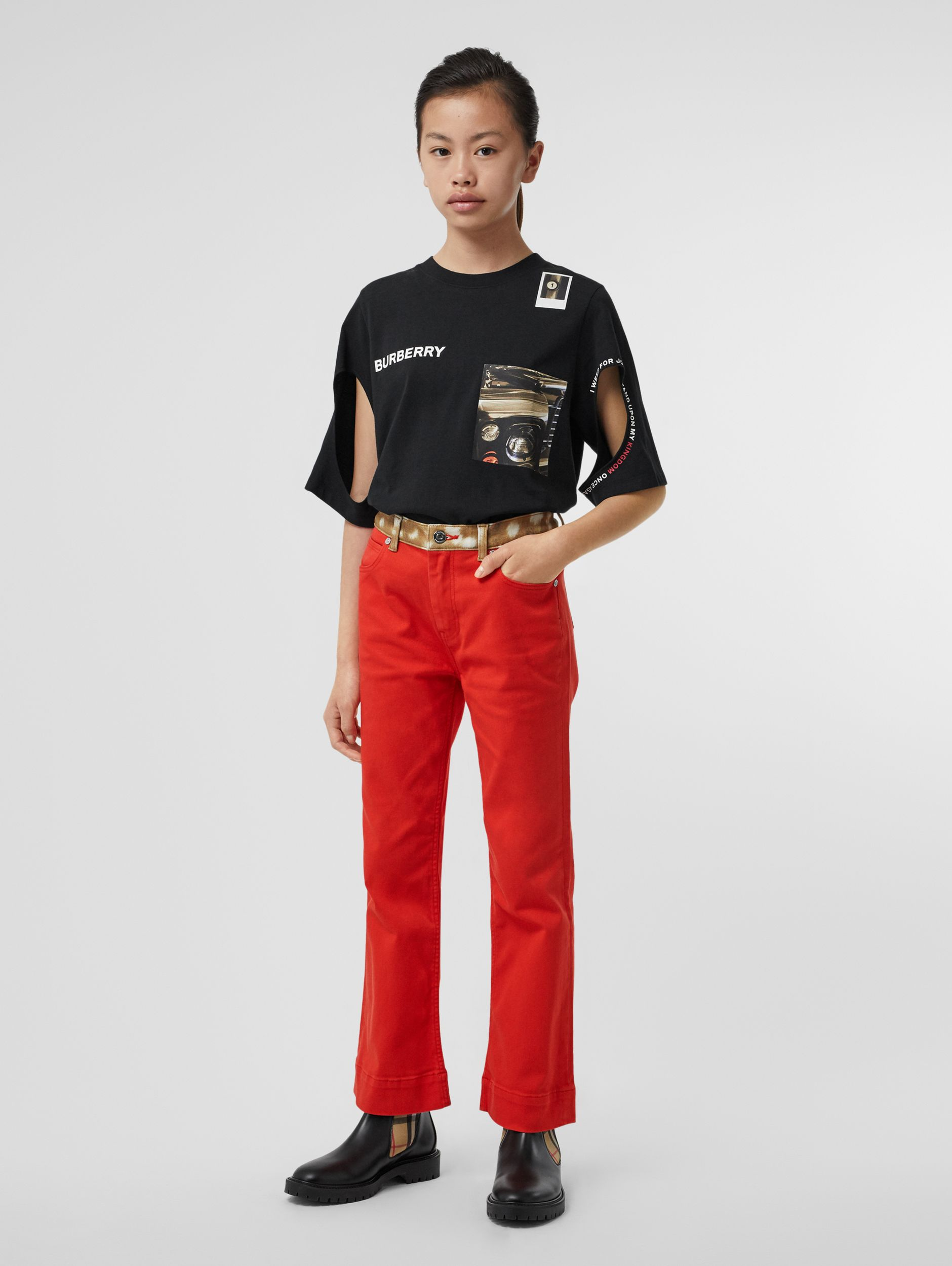 Flared Fit Deer Print Trim Japanese Denim Jeans in Bright Red | Burberry - 4