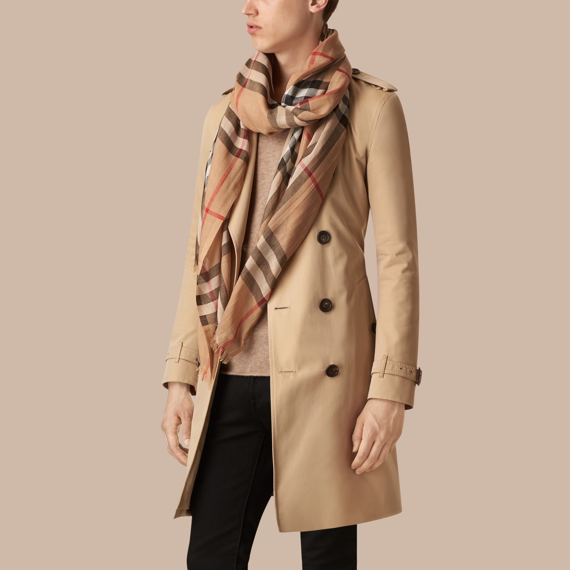 Lightweight Check Wool and Silk Scarf in Camel | Burberry Singapore - gallery image 4