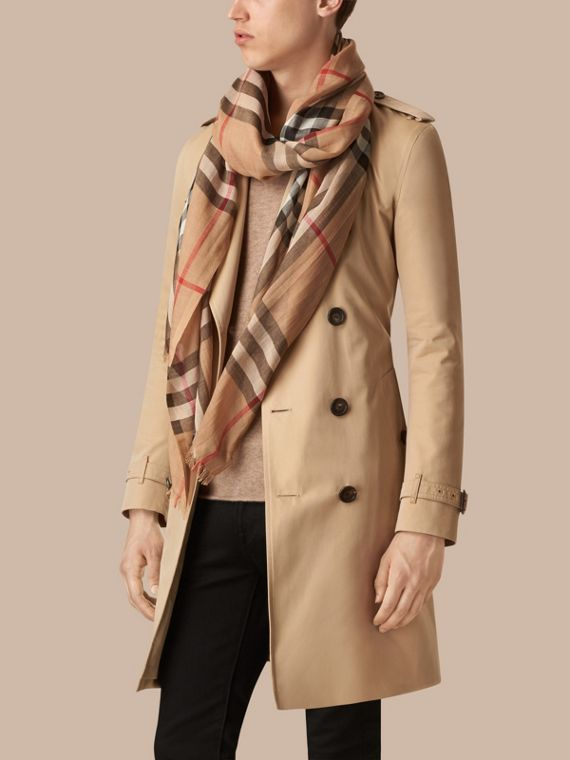 Lightweight Check Wool and Silk Scarf in Camel | Burberry Singapore - cell image 3