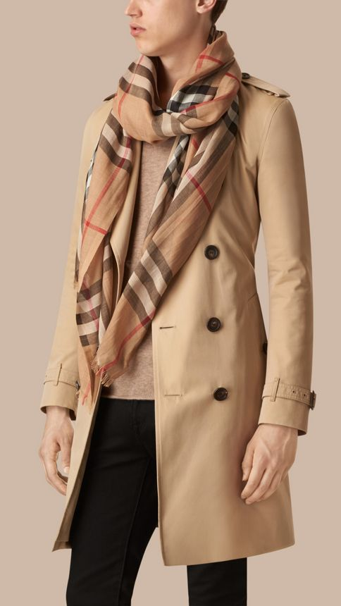 Camel check Lightweight Check Wool and Silk Scarf Camel - Image 4
