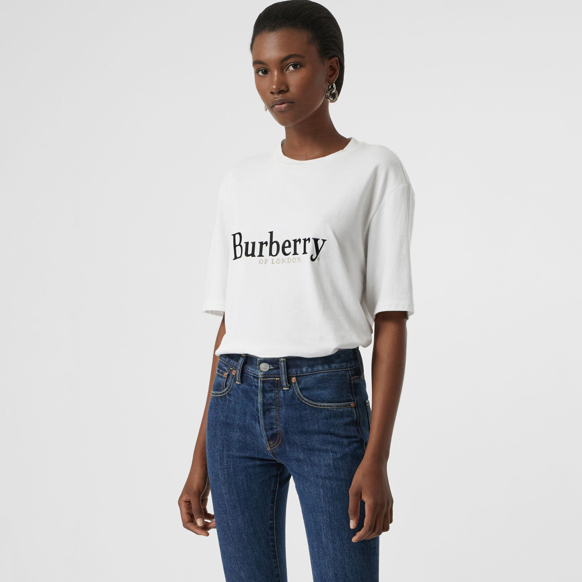 Embroidered Archive Logo Cotton T-shirt in White/black - Women | Burberry - gallery image 0