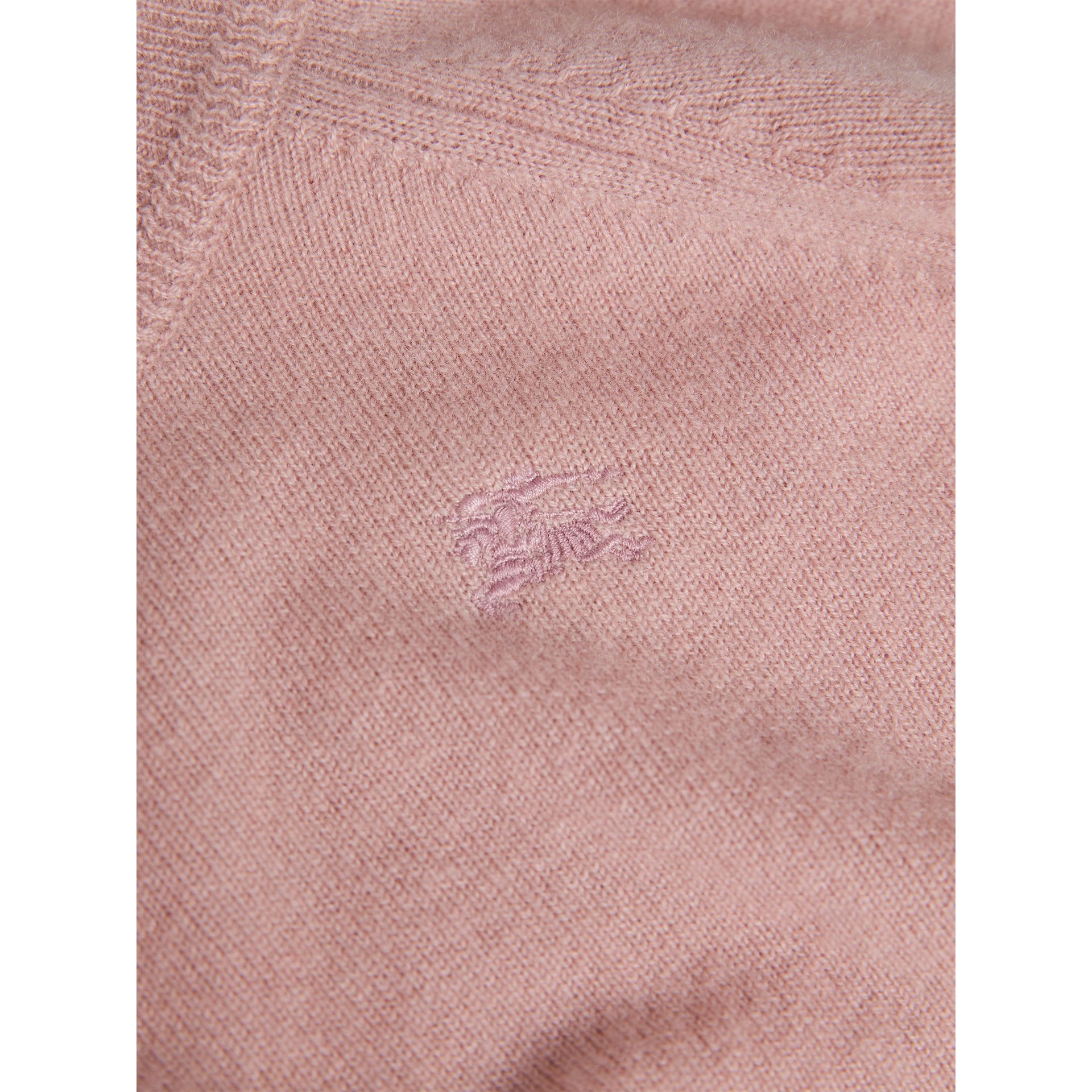 Check Cuff Cashmere Sweater in Dusty Pink | Burberry - gallery image 1