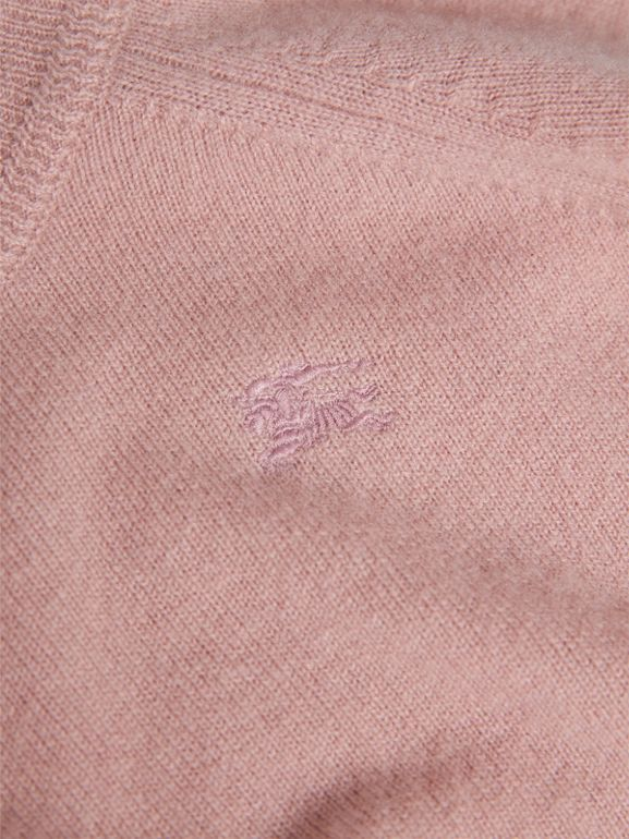 Check Cuff Cashmere Sweater in Dusty Pink | Burberry - cell image 1