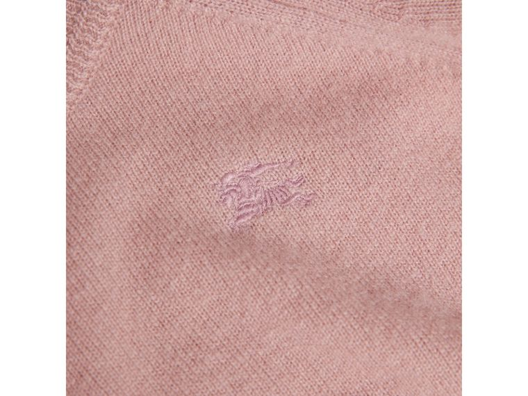 Check Cuff Cashmere Sweater in Dusty Pink - Girl | Burberry - cell image 1