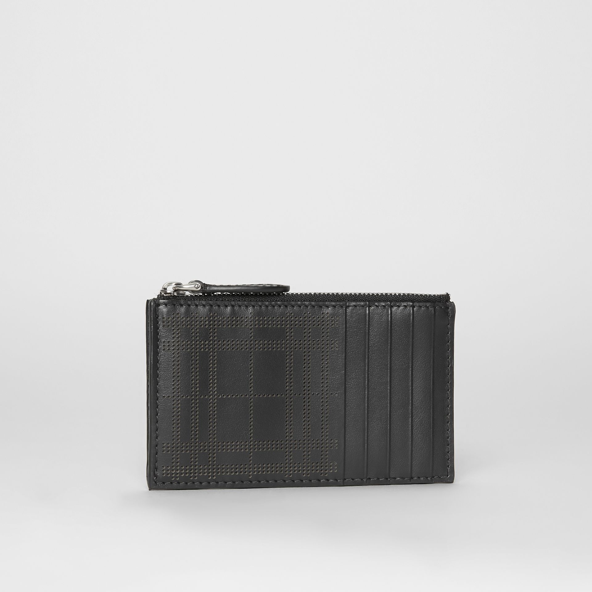 Perforated Check Leather Zip Card Case in Black - Men | Burberry - gallery image 4