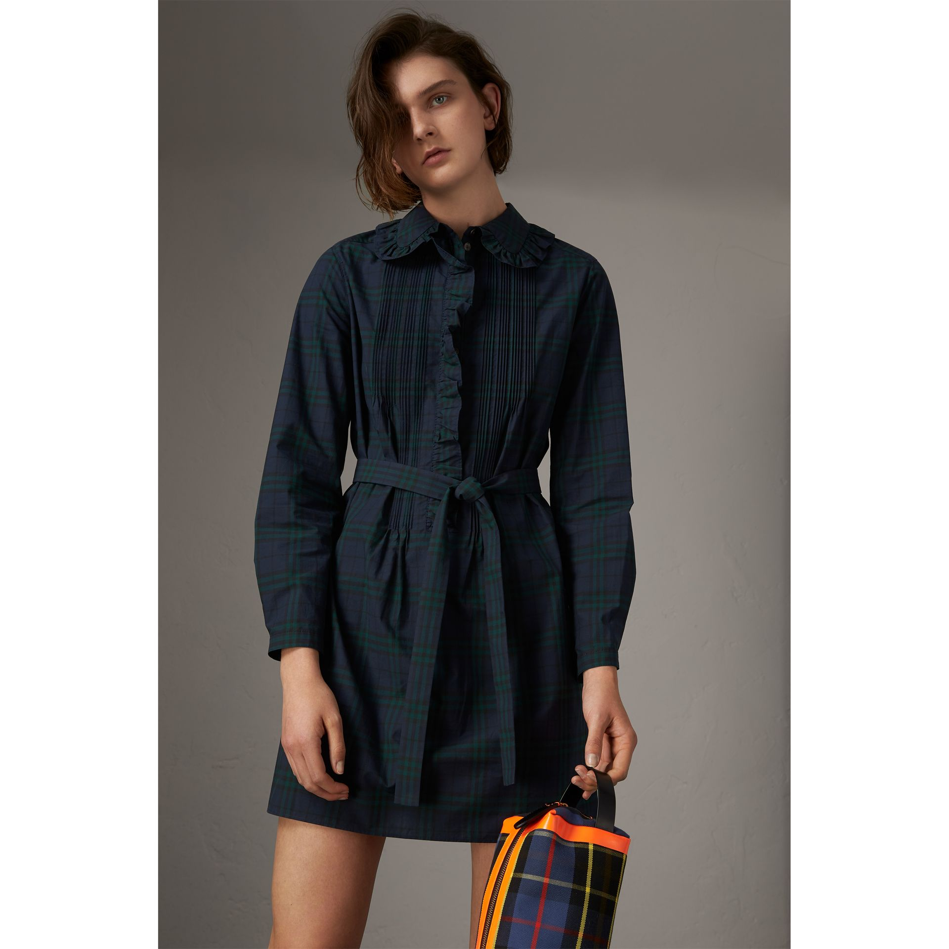 Pintuck Detail Tie-waist Tartan Cotton Tunic Dress in Ink Blue - Women | Burberry Singapore - gallery image 4