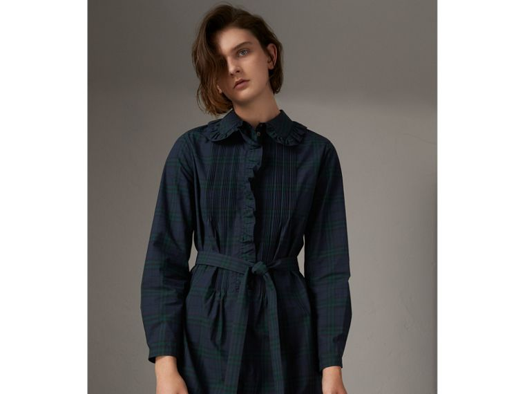 Pintuck Detail Tie-waist Tartan Cotton Tunic Dress in Ink Blue - Women | Burberry United States - cell image 4