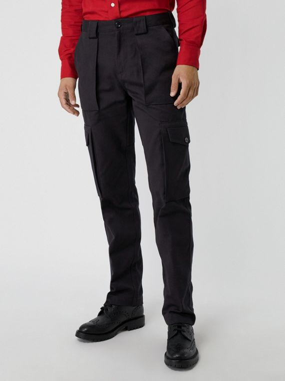Technical Cotton Twill Cargo Trousers in Dark Navy