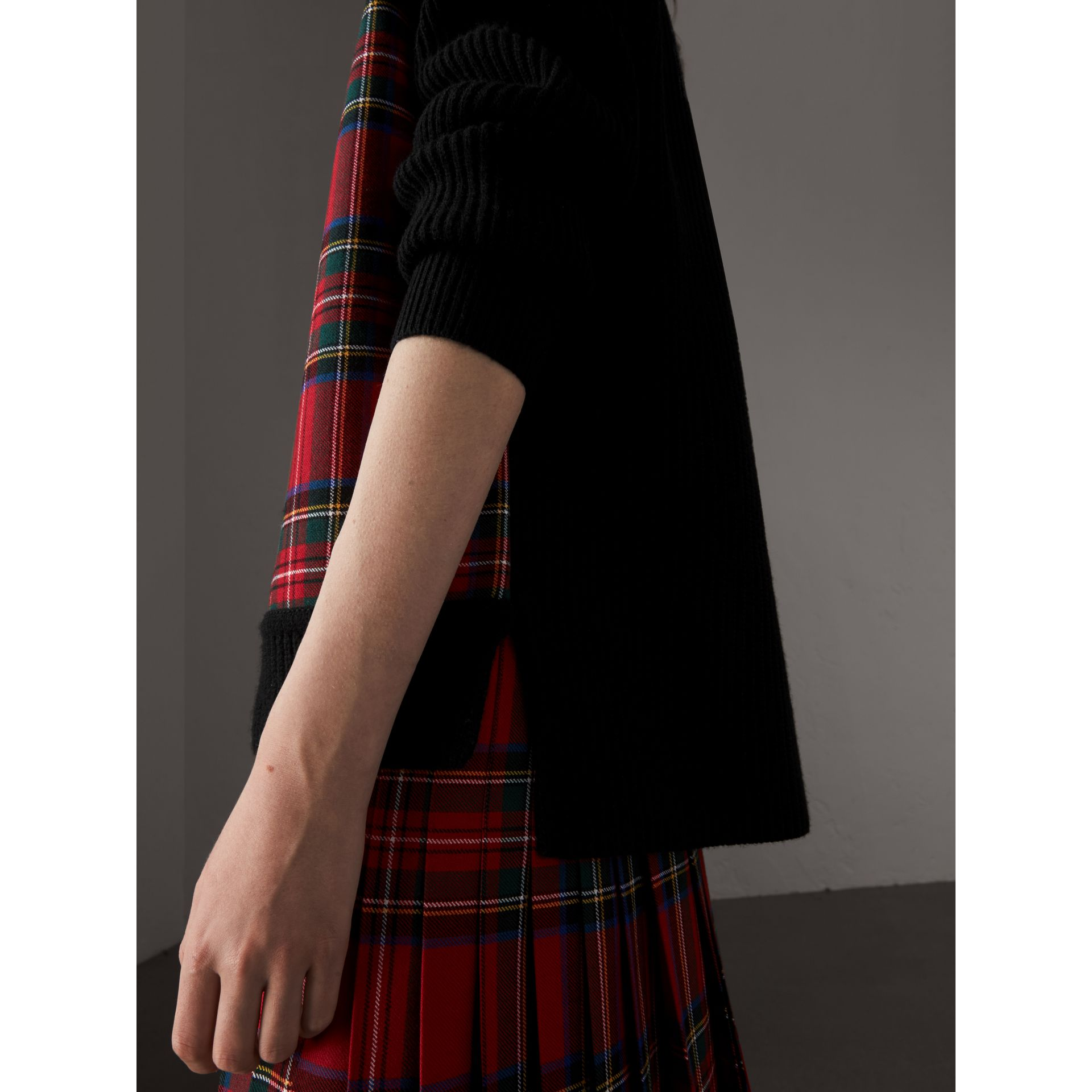 Tartan Panel Wool Cashmere Roll-neck Sweater in Red/navy - Women | Burberry United Kingdom - gallery image 1