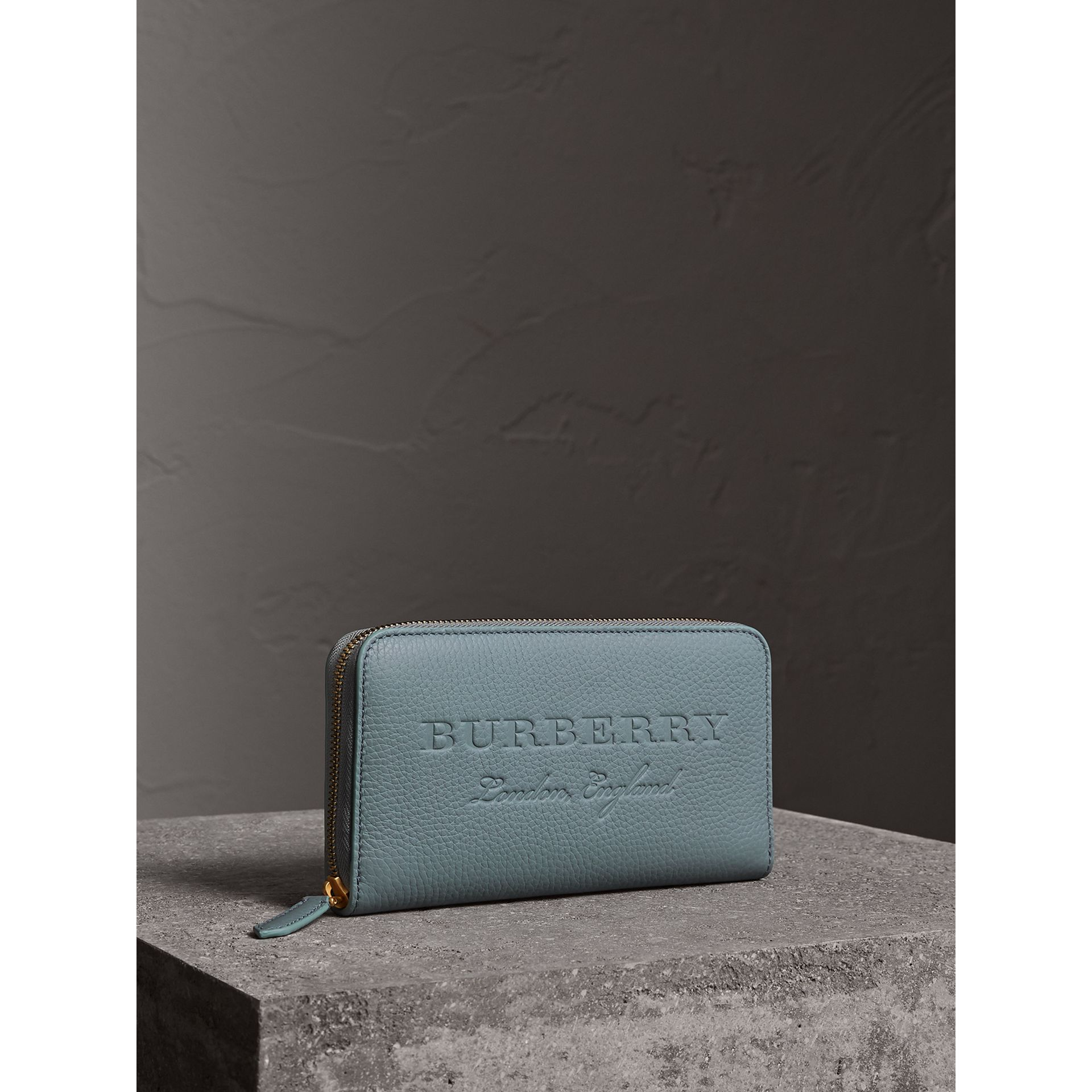 Embossed Leather Ziparound Wallet in Dusty Teal Blue | Burberry - gallery image 1
