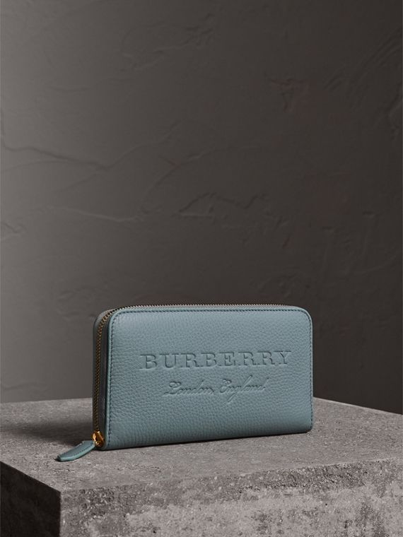 Embossed Leather Ziparound Wallet in Dusty Teal Blue