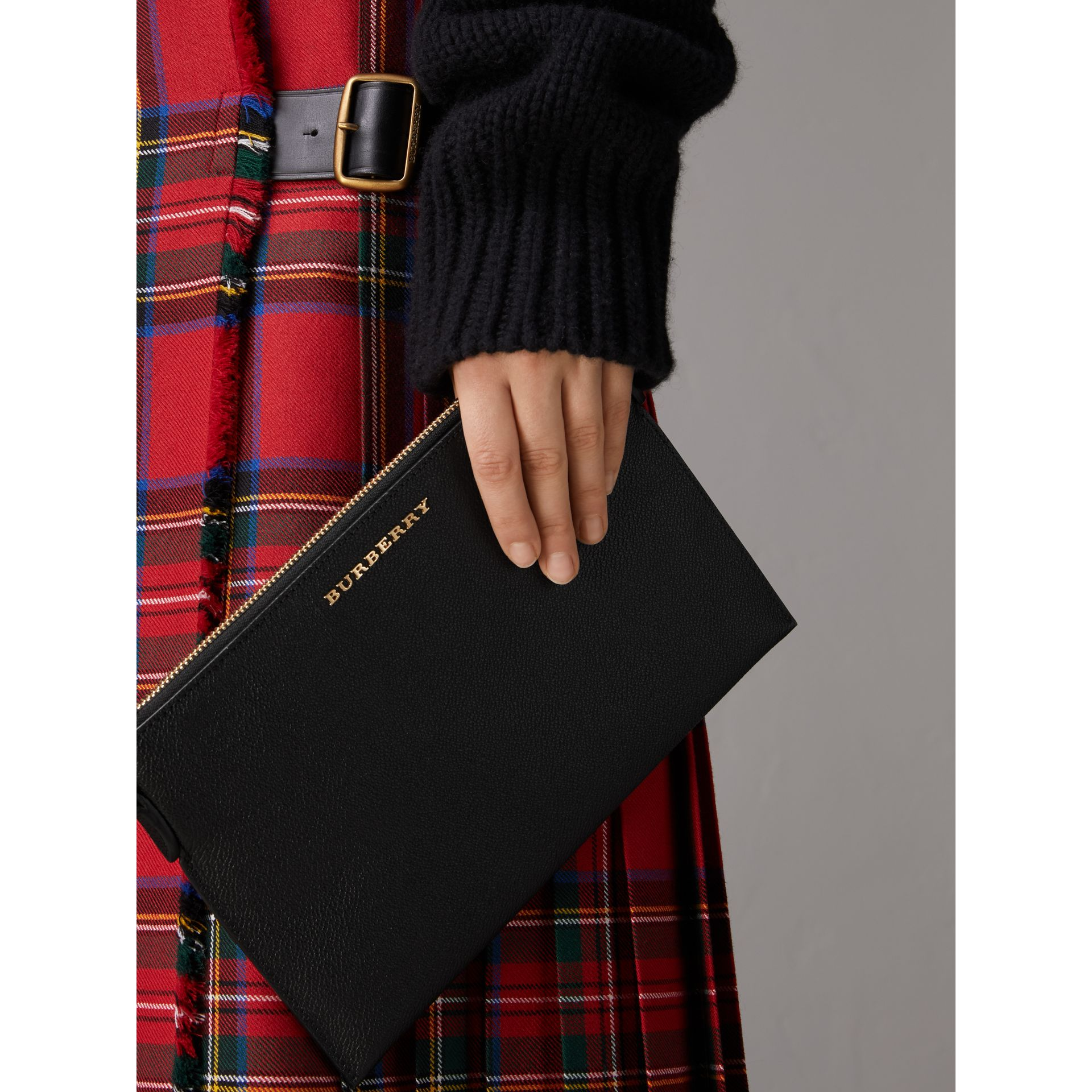 Leather Clutch Bag with Check Lining in Black - Women | Burberry - gallery image 3