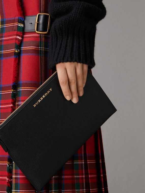 Leather Clutch Bag with Check Lining in Black - Women | Burberry - cell image 3