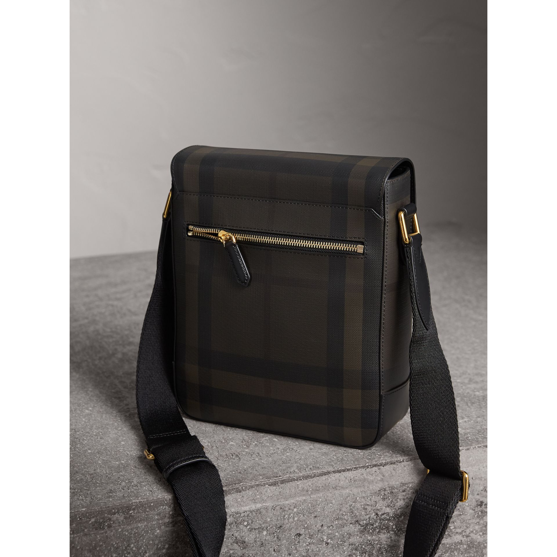 London Check Crossbody Bag in Chocolate/black - Men | Burberry Canada - gallery image 4