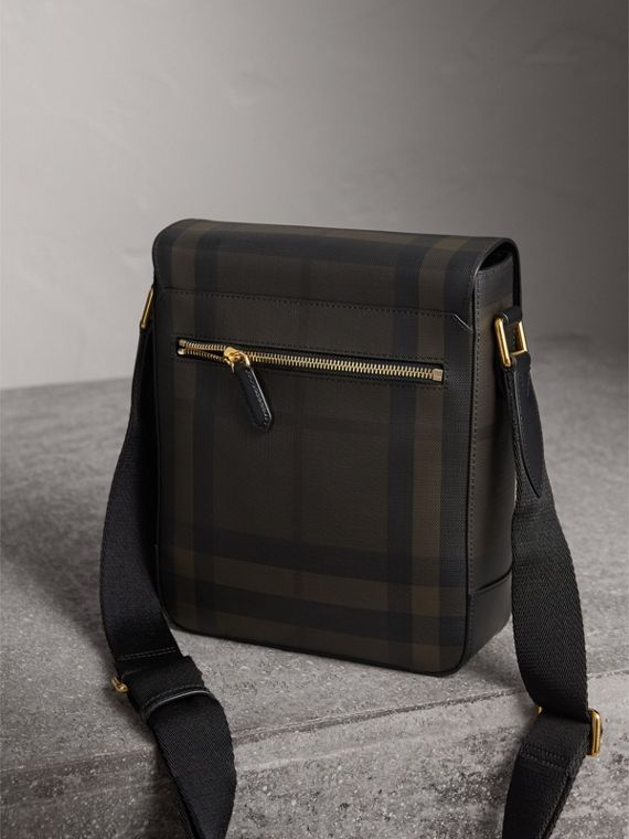 London Check Crossbody Bag in Chocolate/black - Men | Burberry Canada - cell image 3