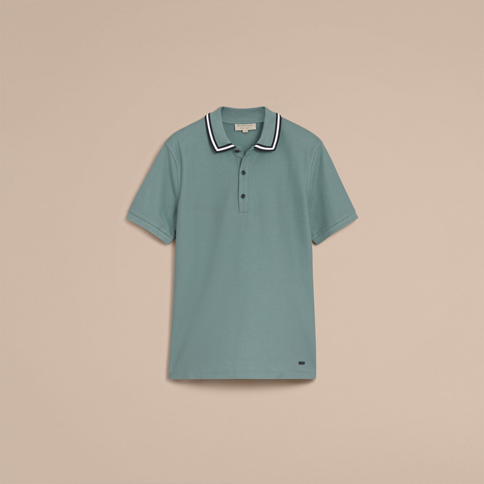 Striped Collar Cotton Piqué Polo Shirt in Pale Teal Blue - gallery image 4