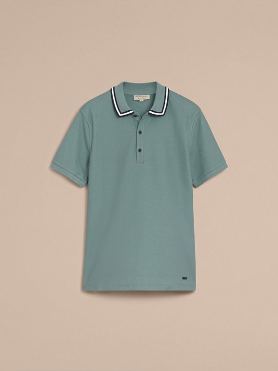 Striped Collar Cotton Piqué Polo Shirt in Pale Teal Blue - cell image 3