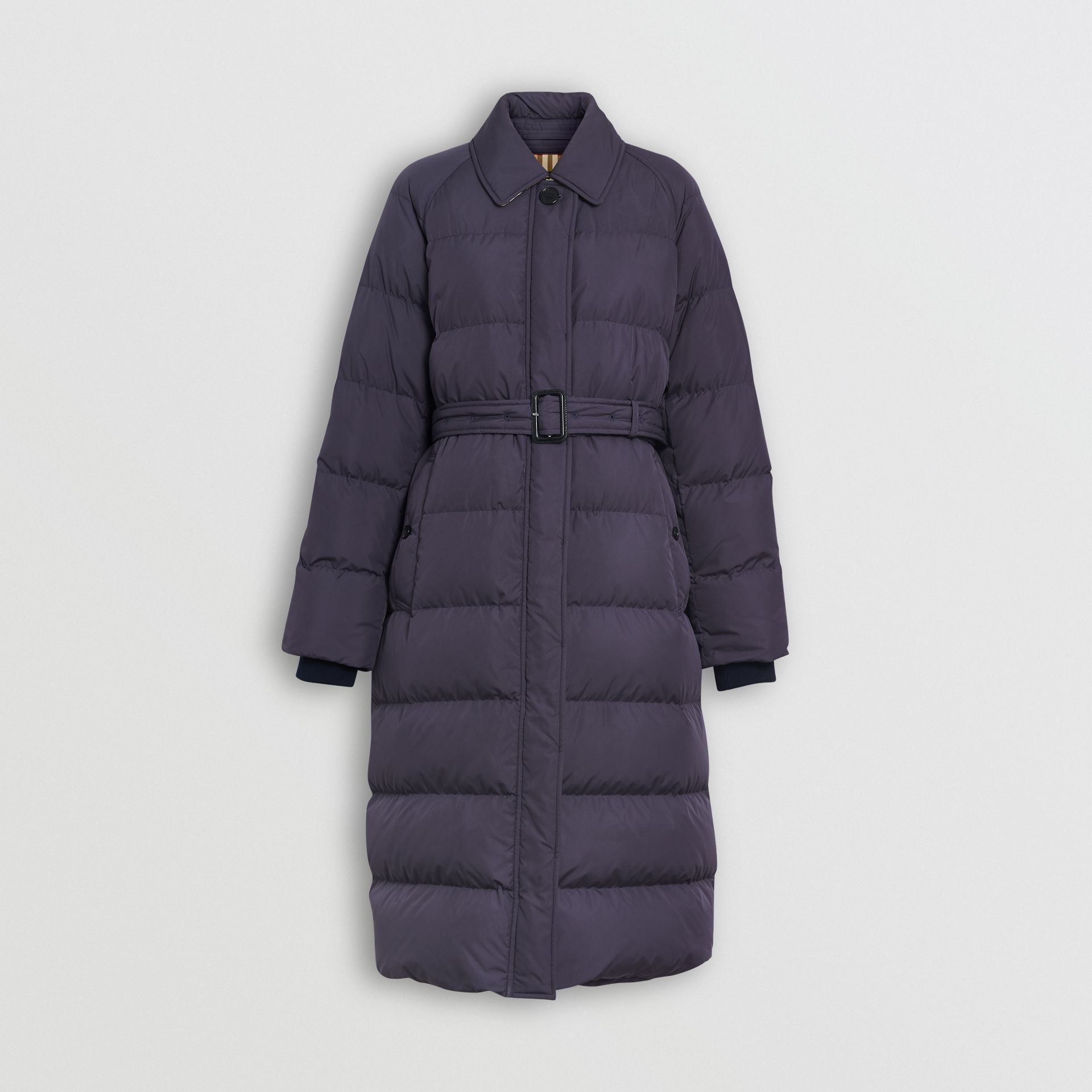 Belted Long Down-filled Puffer Coat in Navy - Women | Burberry - gallery image 3