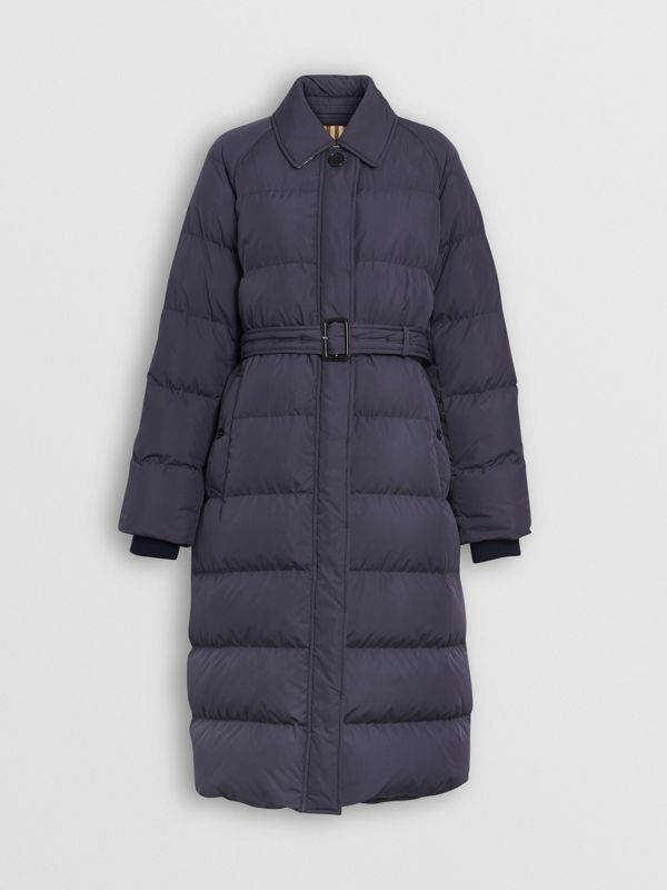 Belted Long Down-filled Puffer Coat in Navy - Women | Burberry - cell image 3