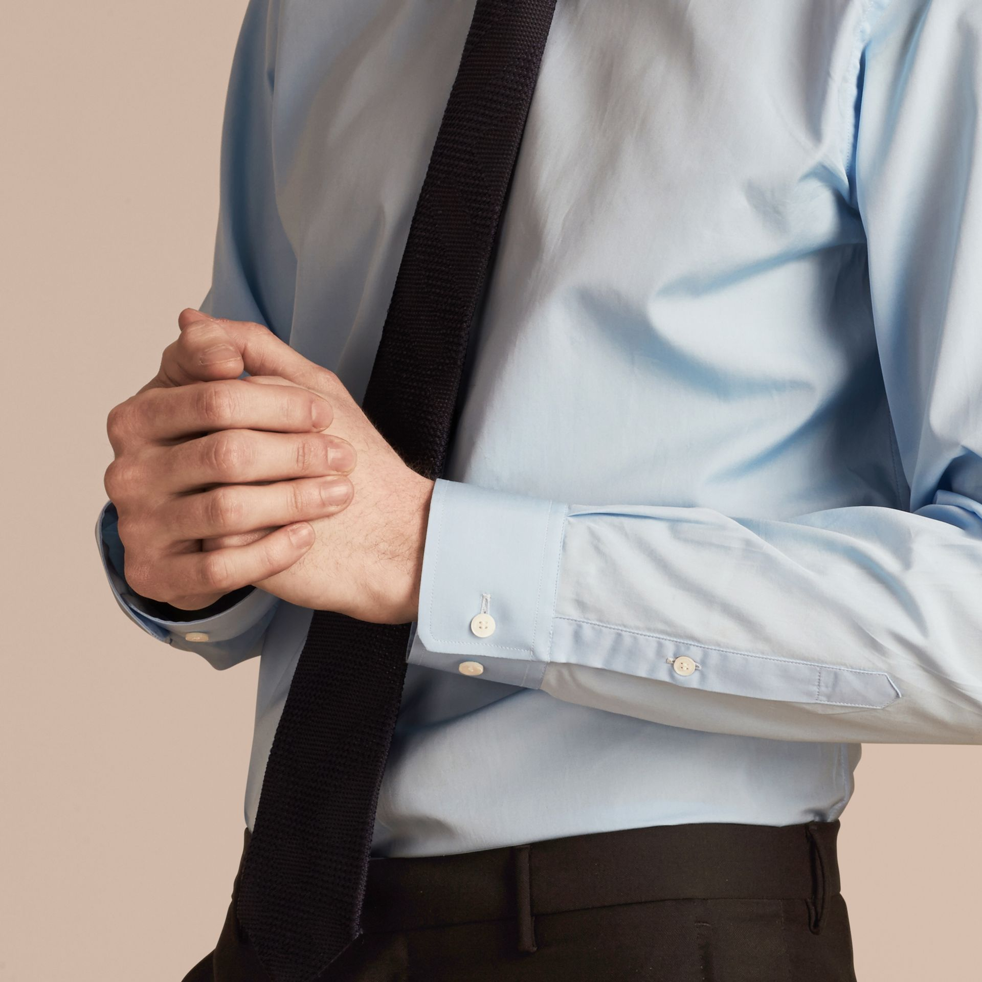 Modern Fit Cotton Poplin Shirt in City Blue - Men | Burberry - gallery image 5