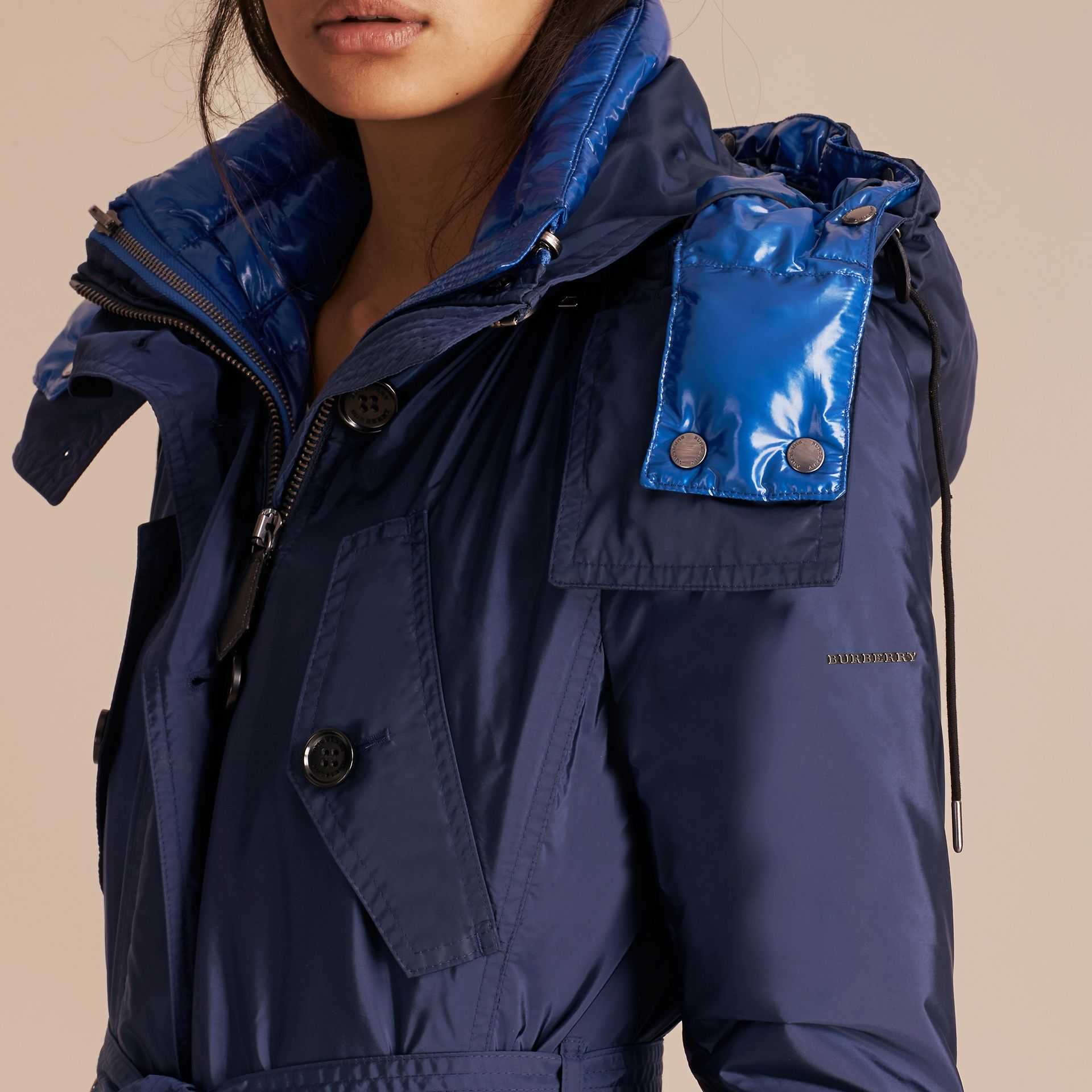 Fur-trimmed Parka with Detachable Down-filled Jacket in Ink Blue - gallery image 5