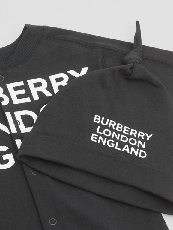 Logo Print Organic Cotton Two-piece Baby Gift Set in Black - Children | Burberry United Kingdom - cell image 1