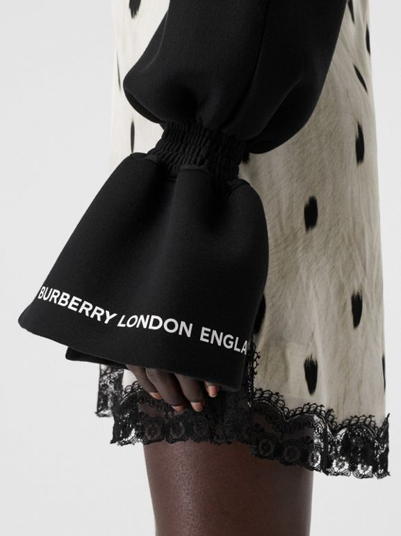 Kingdom Print Neoprene Puff Sleeves in Black - Women | Burberry Canada - cell image 1