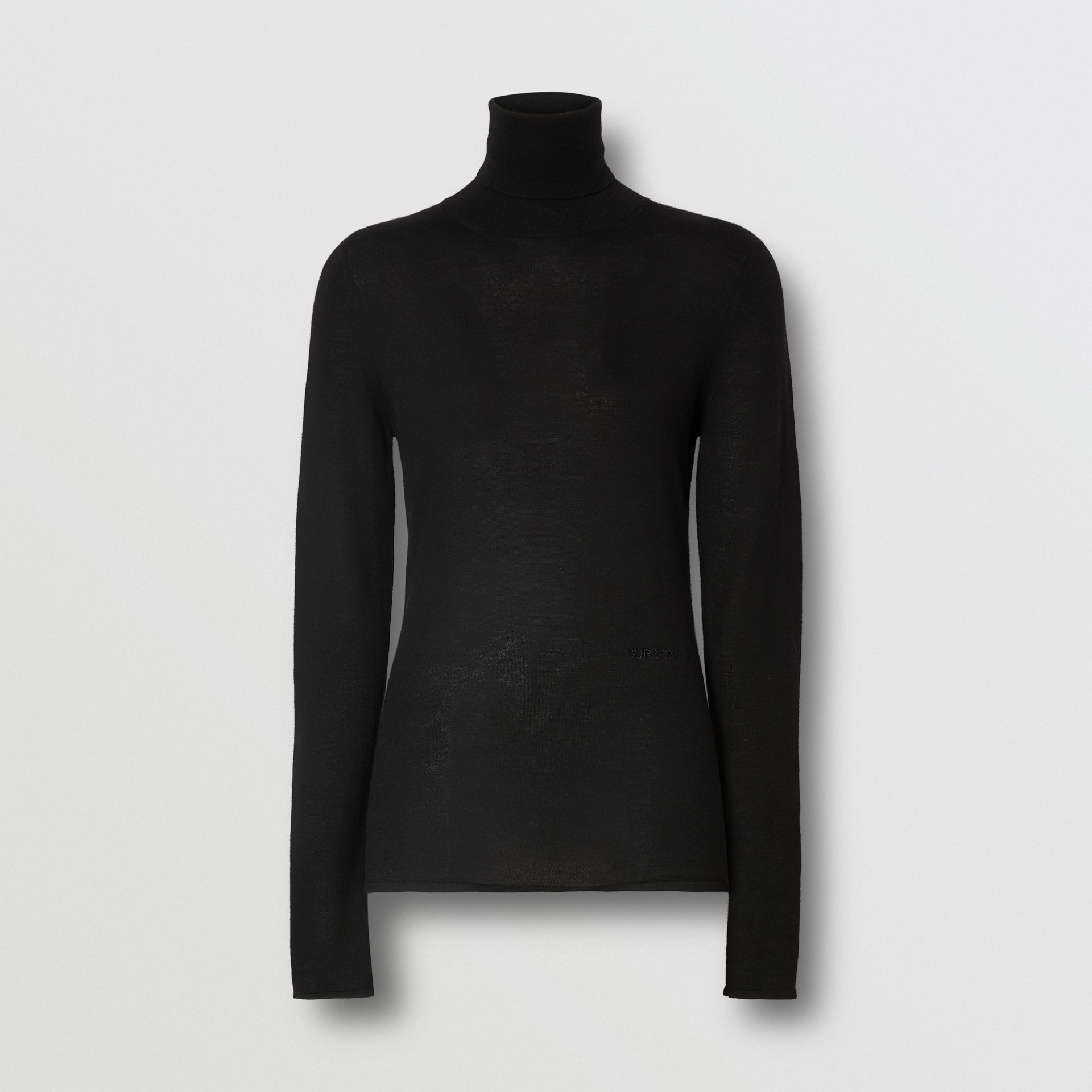 Logo Embroidered Cashmere Silk Roll-neck Sweater in Black - Women | Burberry Canada - gallery image 3
