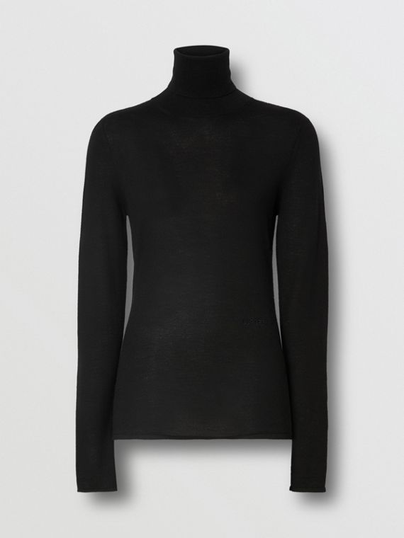Logo Embroidered Cashmere Silk Roll-neck Sweater in Black