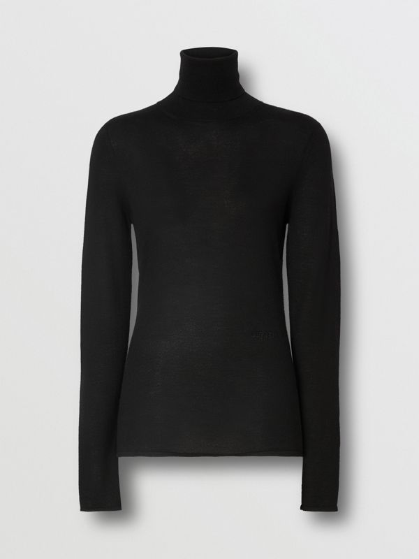 Logo Embroidered Cashmere Silk Roll-neck Sweater in Black - Women | Burberry Canada - cell image 3
