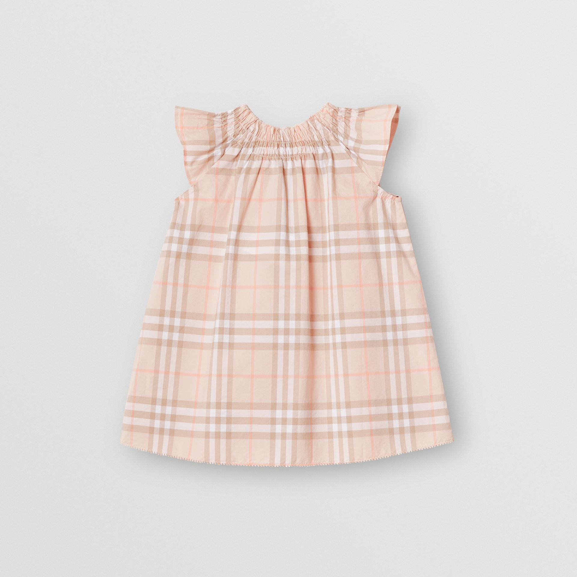 Smocked Vintage Check Cotton Dress in Pale Pink Apricot - Children | Burberry - gallery image 3