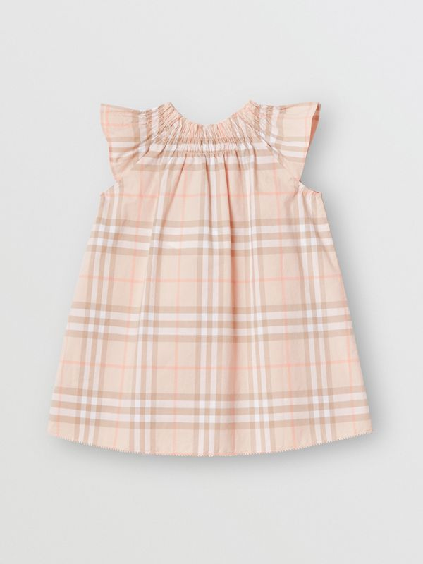 Smocked Vintage Check Cotton Dress in Pale Pink Apricot - Children | Burberry United States - cell image 3