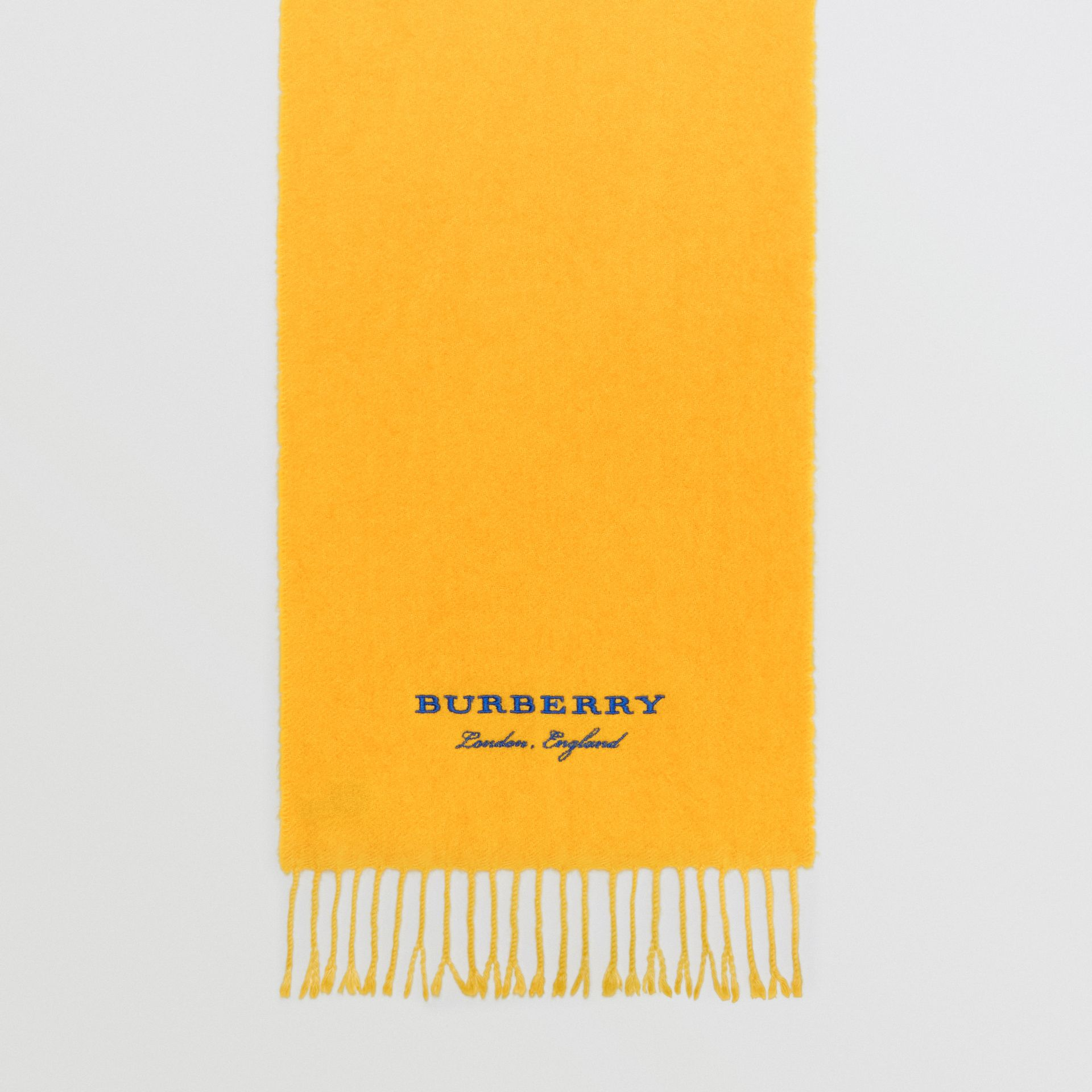 Embroidered Cashmere Fleece Scarf in Saffron Yellow | Burberry Australia - gallery image 6