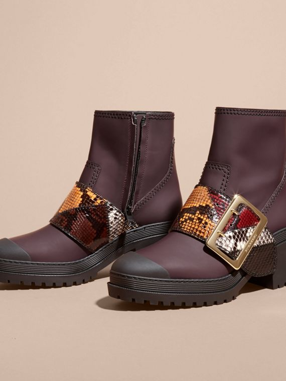 Dark claret The Buckle Boot in Rubberised Leather and Snakeskin - cell image 2