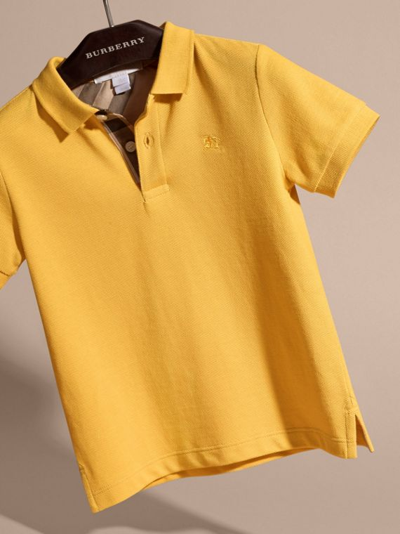 Check Placket Polo Shirt in Bright Yellow - Boy | Burberry - cell image 2