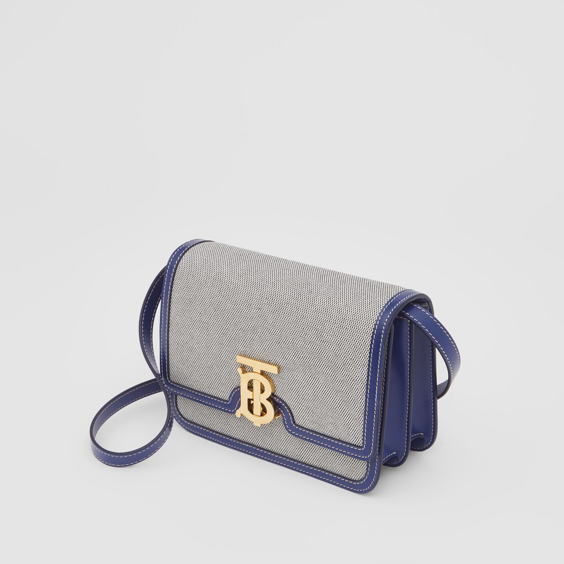 Small Two-tone Canvas and Leather TB Bag in Ink Navy - Women | Burberry - gallery image 3