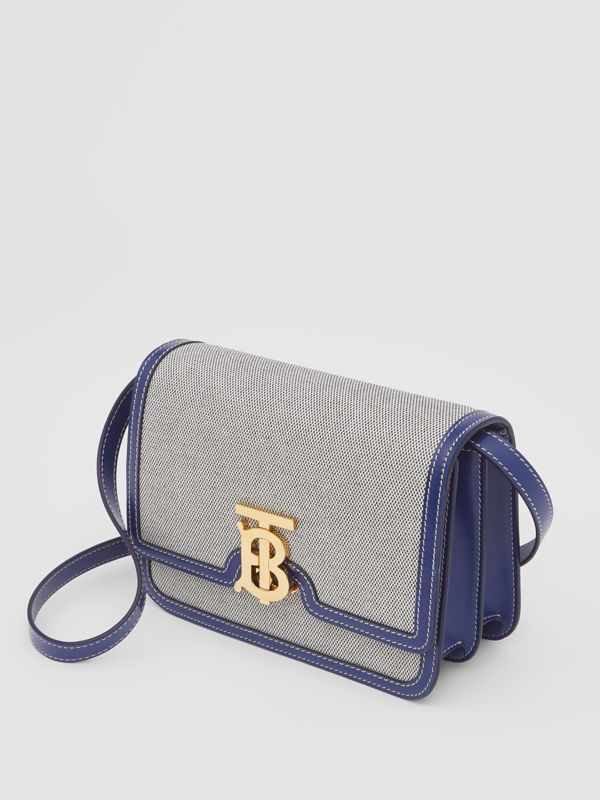 Small Two-tone Canvas and Leather TB Bag in Ink Navy - Women | Burberry - cell image 3