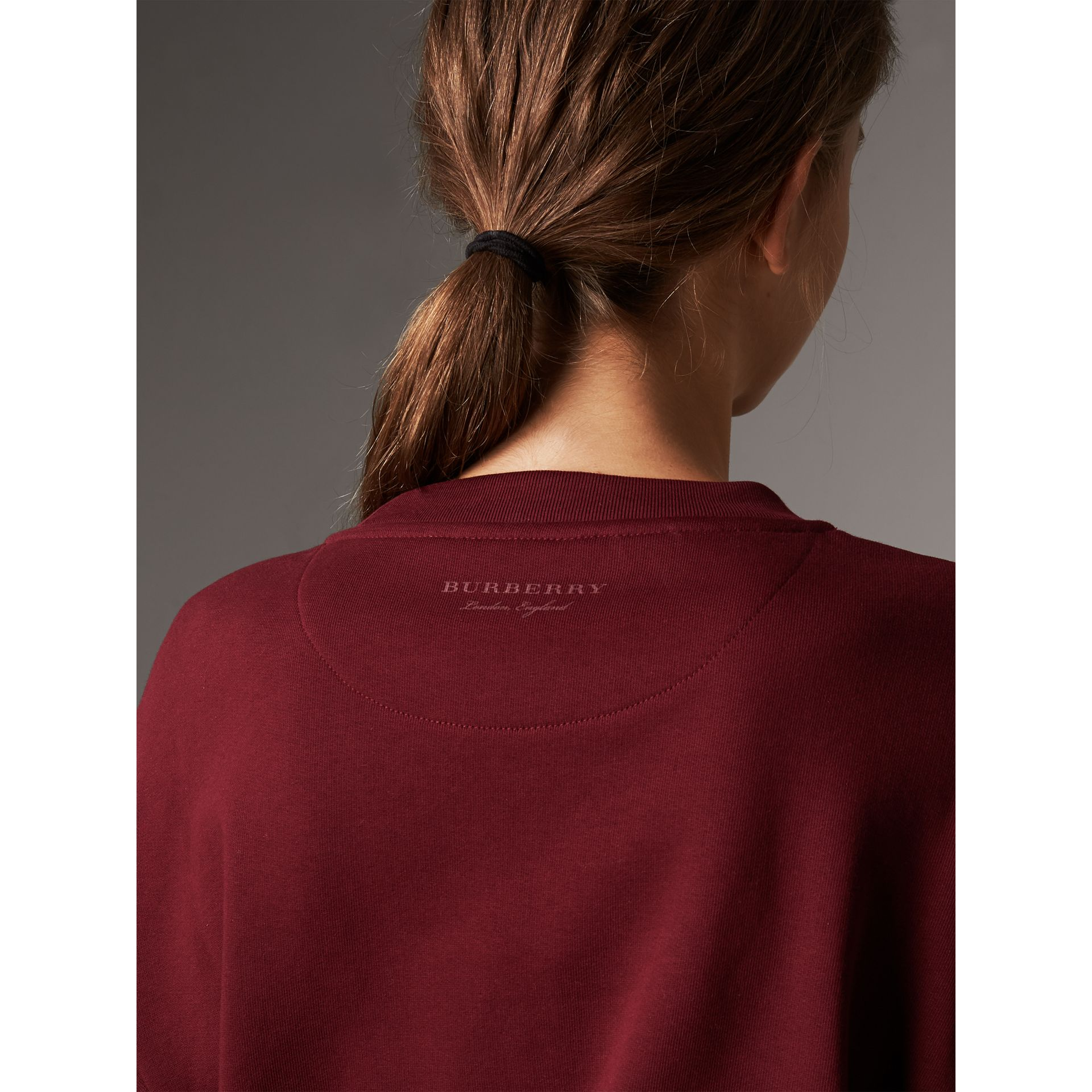 Ruffle Detail Cotton Jersey Sweatshirt in Dark Plum - Women | Burberry - gallery image 5