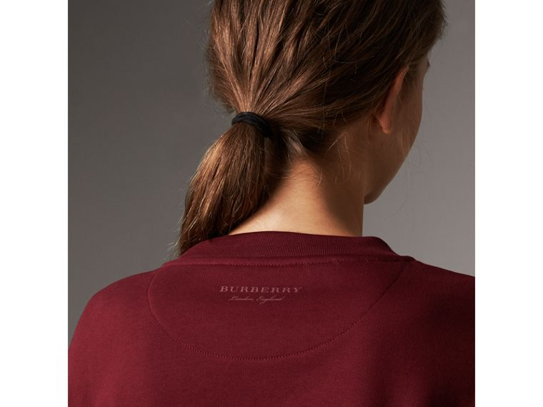Ruffle Detail Cotton Jersey Sweatshirt in Dark Plum - Women | Burberry - cell image 4