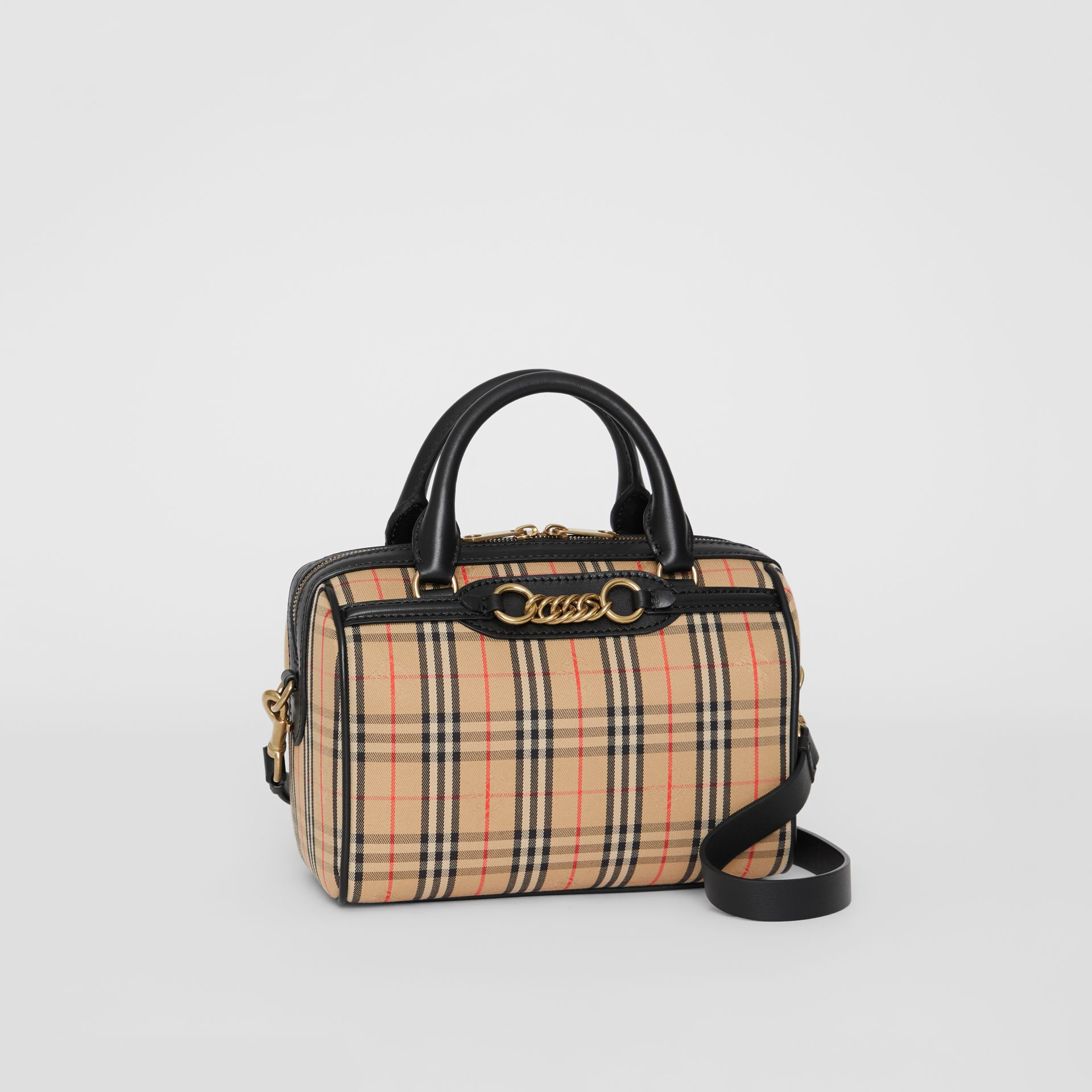 The Small 1983 Check Link Bowling Bag in Black - Women | Burberry - gallery image 6