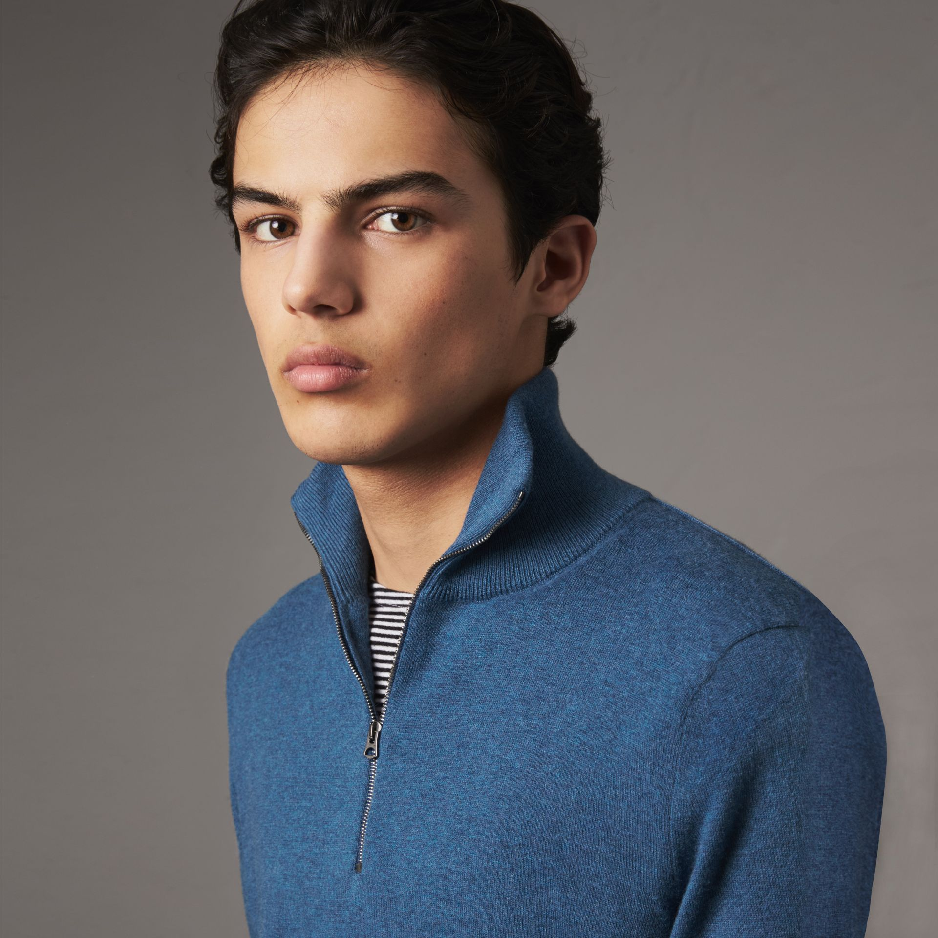 Zip-neck Cashmere Cotton Sweater in Steel Blue - Men | Burberry - gallery image 0
