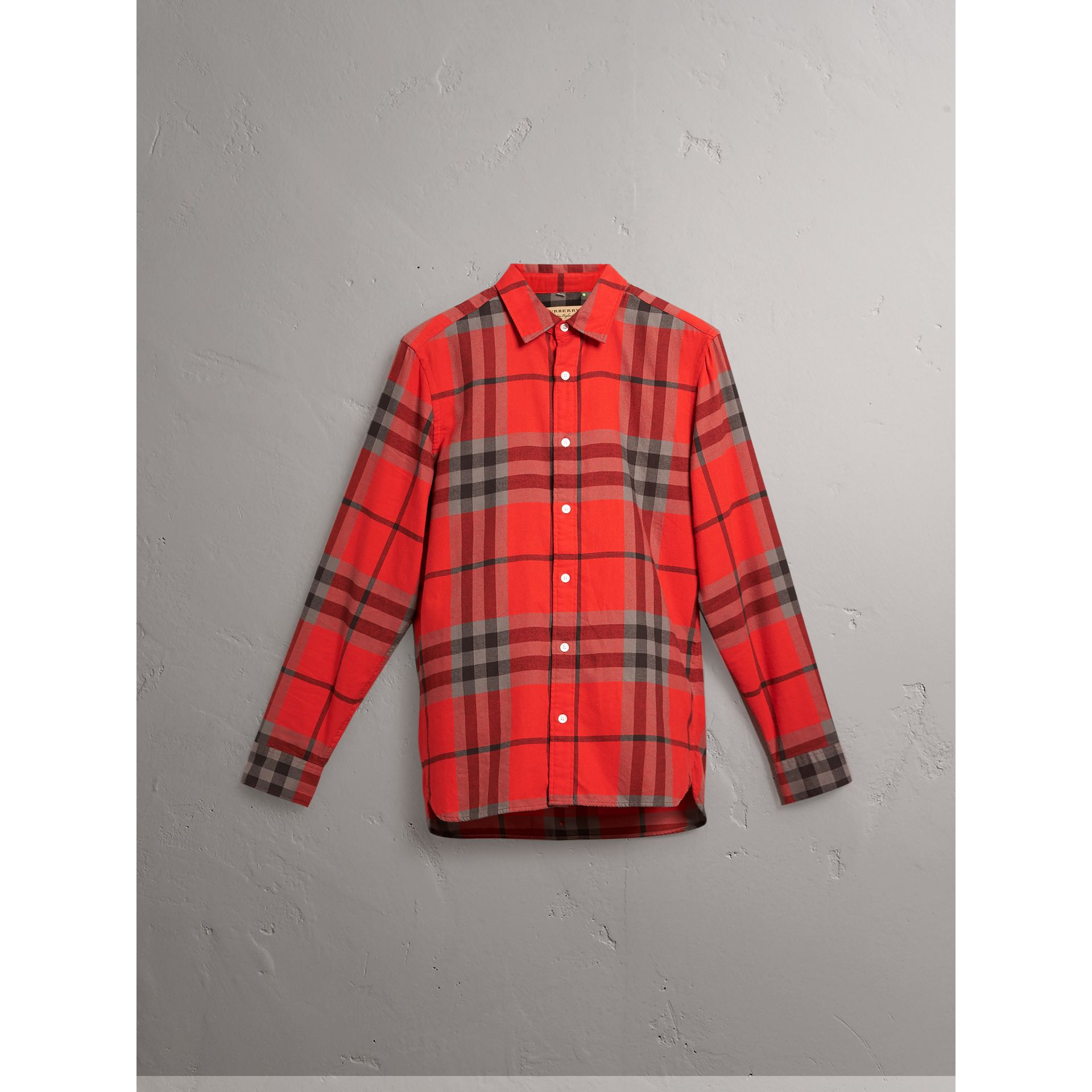 Check Cotton Flannel Shirt in Bright Red - Men | Burberry - gallery image 3