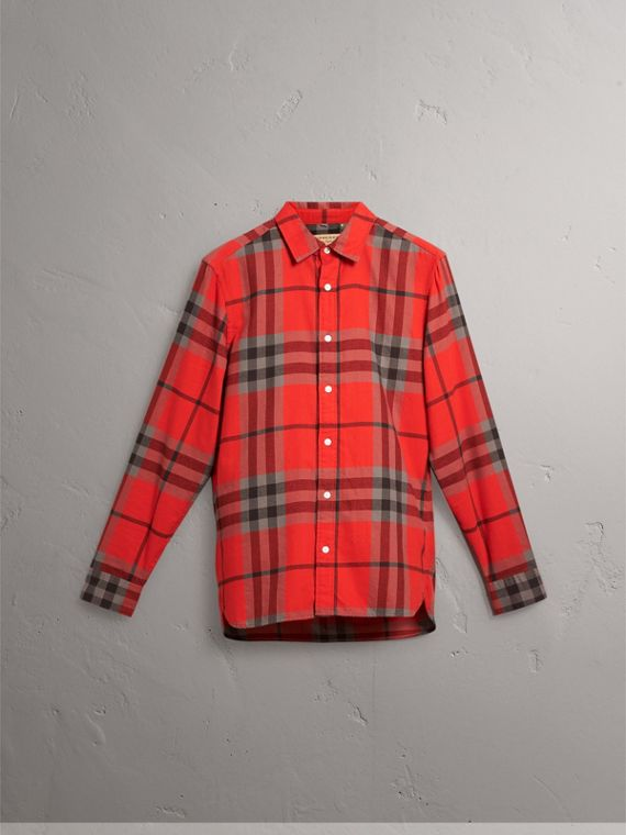Check Cotton Flannel Shirt in Bright Red