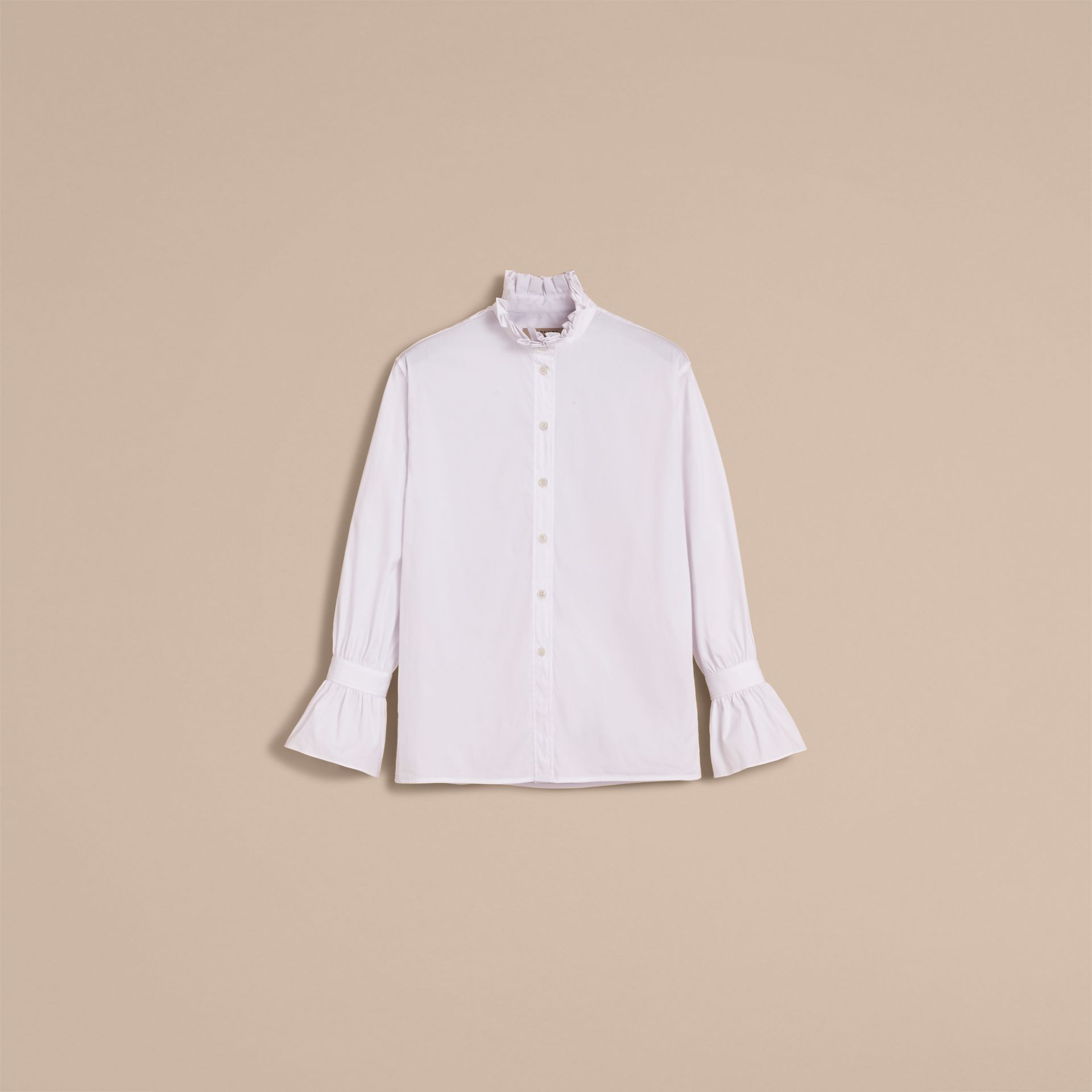 White Ruffle Detail Stretch Cotton Poplin Shirt - gallery image 4