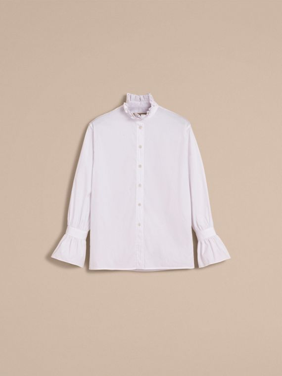 White Ruffle Detail Stretch Cotton Poplin Shirt - cell image 3