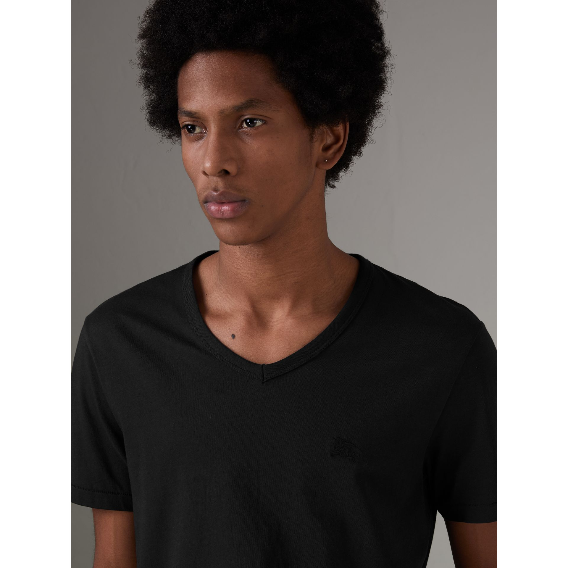 Cotton Jersey T-shirt in Black - Men | Burberry Australia - gallery image 1
