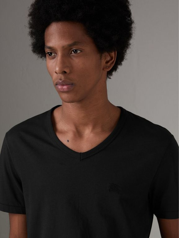 Cotton Jersey T-shirt in Black - Men | Burberry United Kingdom - cell image 1