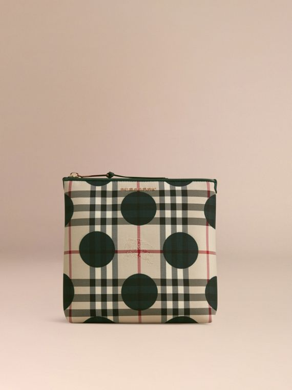 Dark forest green Large Leather Trim Check and Dot Pouch Dark Forest Green - cell image 2