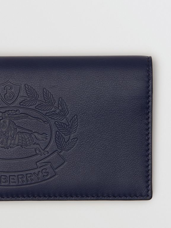 Embossed Crest Leather Continental Wallet in Regency Blue - Men | Burberry - cell image 1