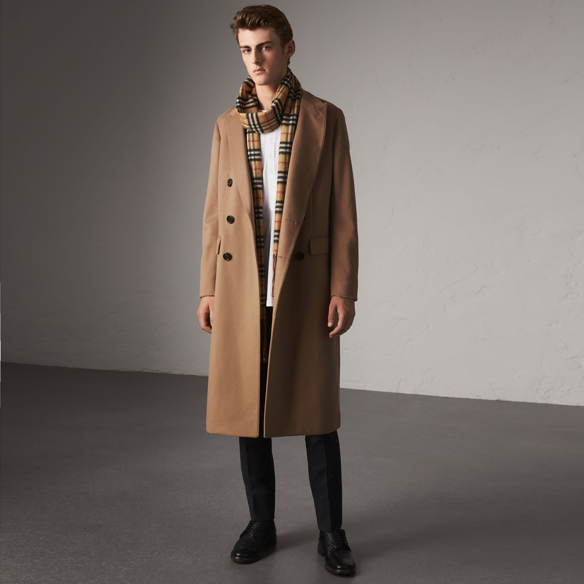 Double-breasted Extra-long Wool Cashmere Coat in Camel - Men | Burberry United Kingdom - gallery image 0